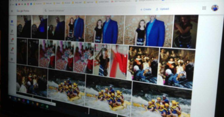 Google Photos on a computer monitor